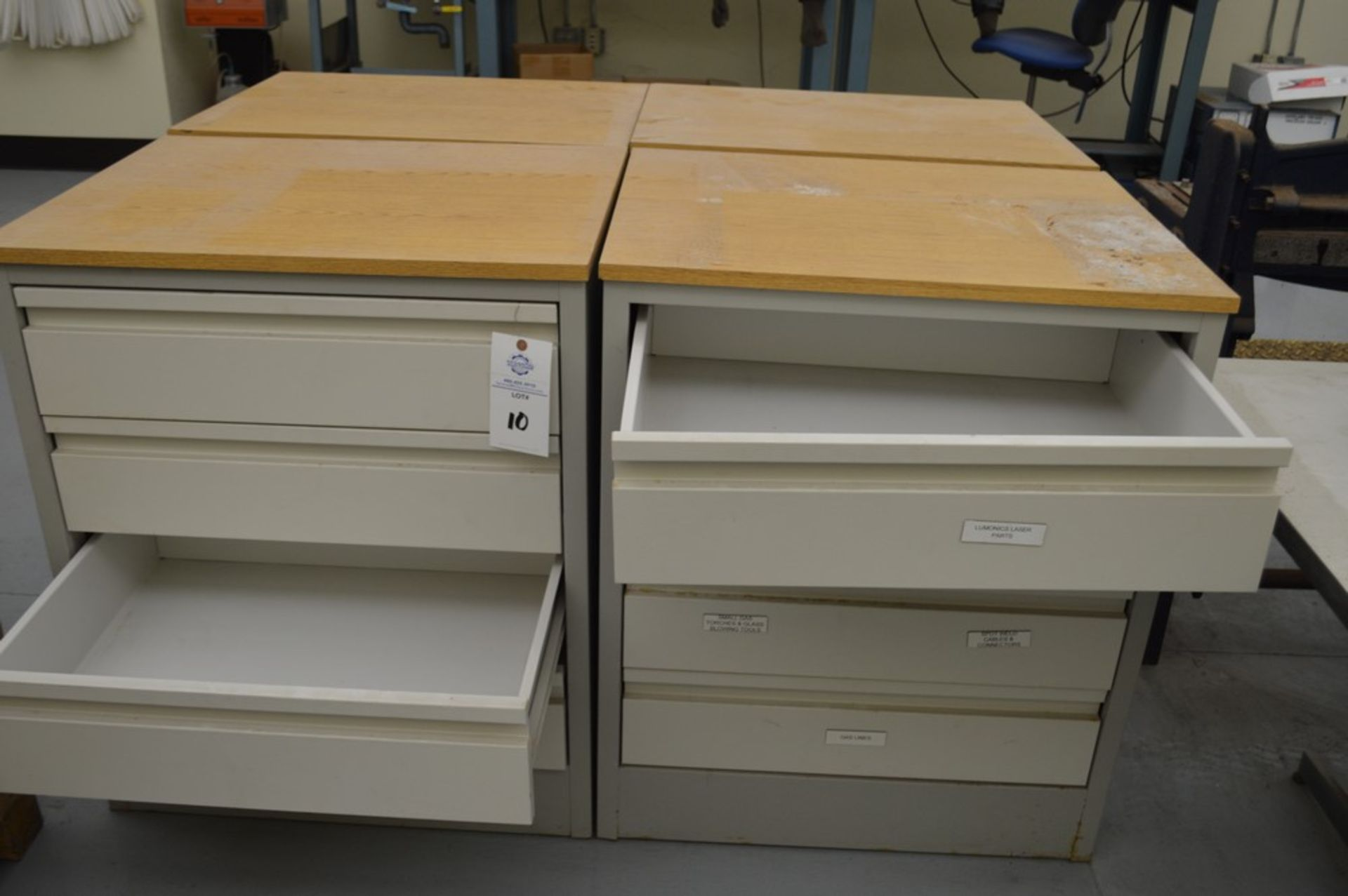 """(3) 4 Drawer Metal Cabinets with wood finished formica tops, 24"""" x 30.5"""", 36.5"""" Tall - Image 3 of 5"""