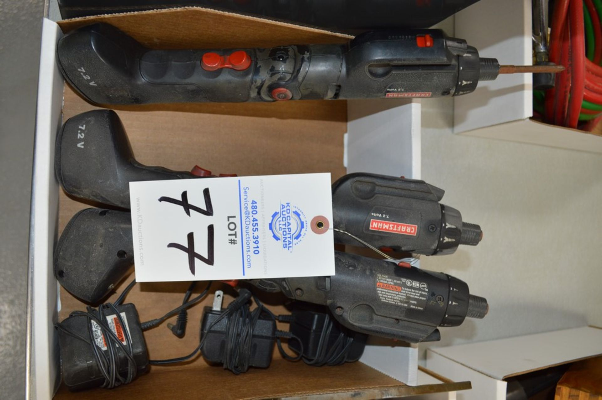 (3) Craftsman 7.2 volt electric screwdrivers with chargers and batteries