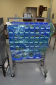 Grey rolling rack with blue bins, giant assortment Stainless Steel allen wrench head Cap Screws.