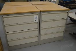 """(3) 4 Drawer Metal Cabinets with wood finished formica tops, 24"""" x 30.5"""", 36.5"""" Tall"""