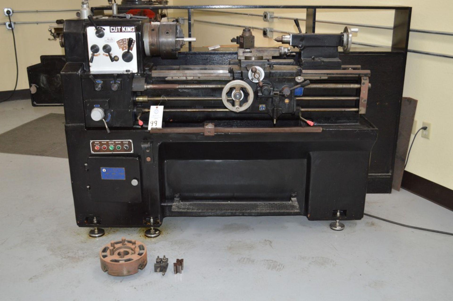 "1979 Cut King, 8"" chuck, 40"" bed, TS, Model 850G, Aloris tool post, coolant, tooling and 10"" chuck"