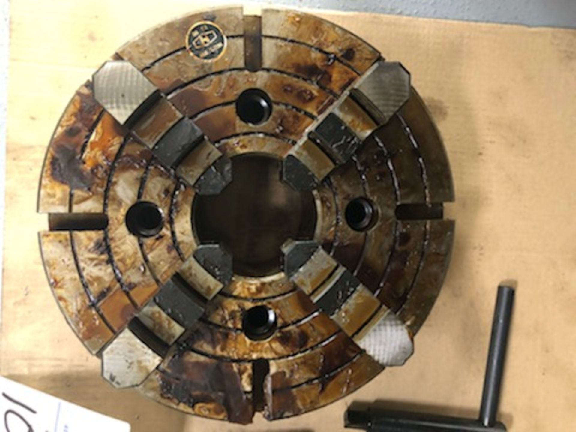 """12.5"""" 4 Jaw chuck, 3.75"""" thru hole, with wrench - Image 5 of 5"""