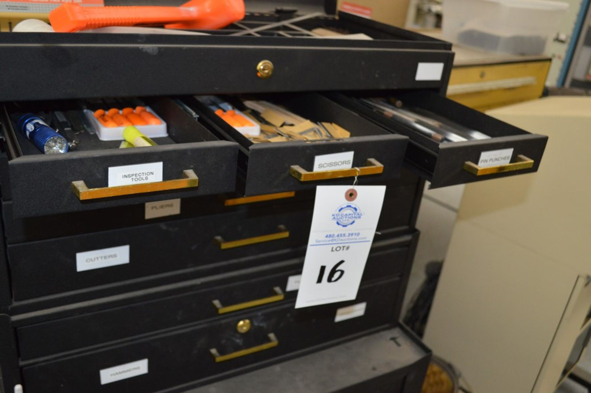(1) Rolling toolbox with contents, 6 drawer top, 2 drawer middle, roller cabinet chest 3 drawer with - Image 7 of 11