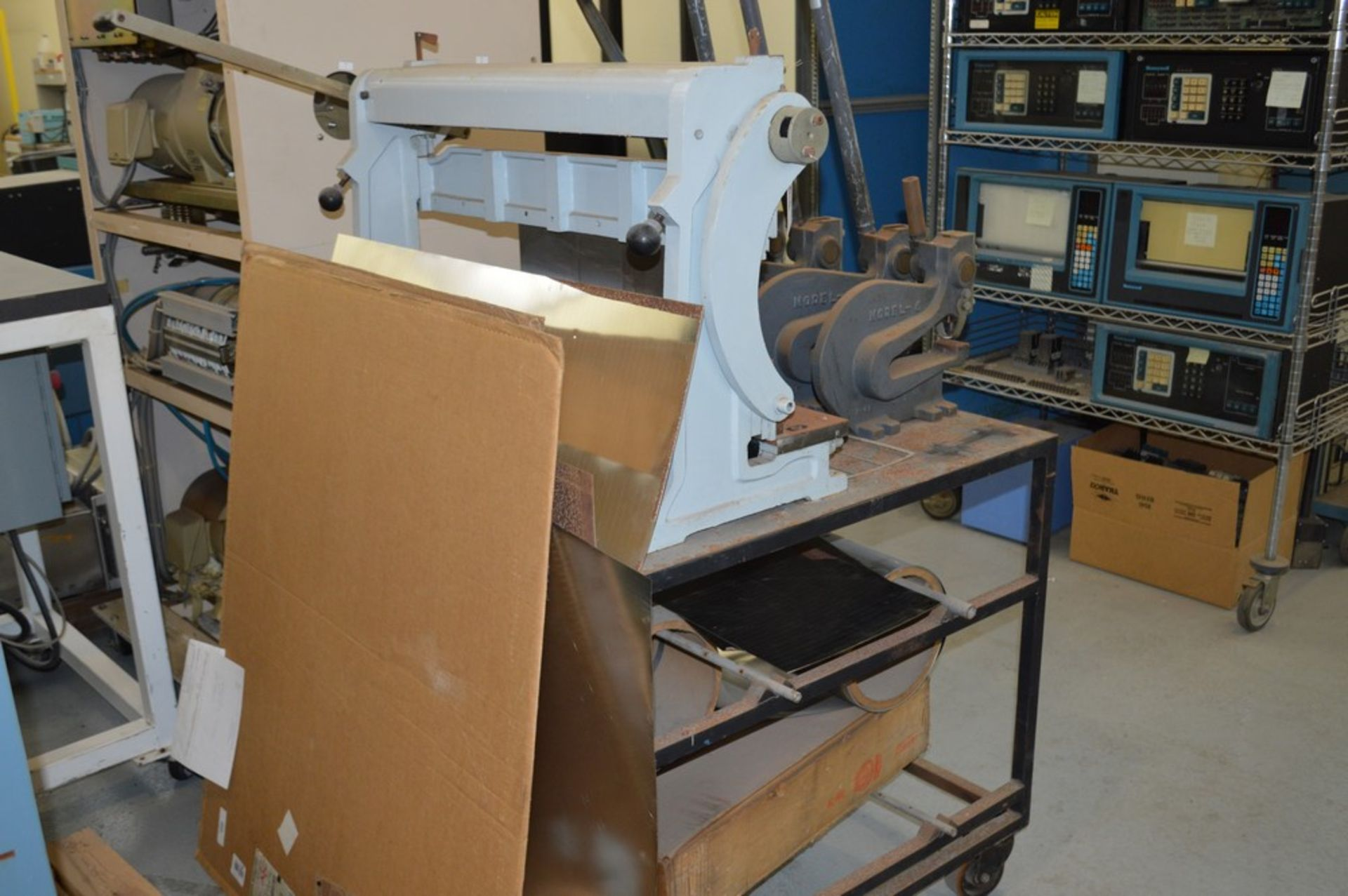 1995 Combined Manual Shear and Break black metal stand, metal rolls, (4 Each) Henrich/Pexto Model- - Image 8 of 8