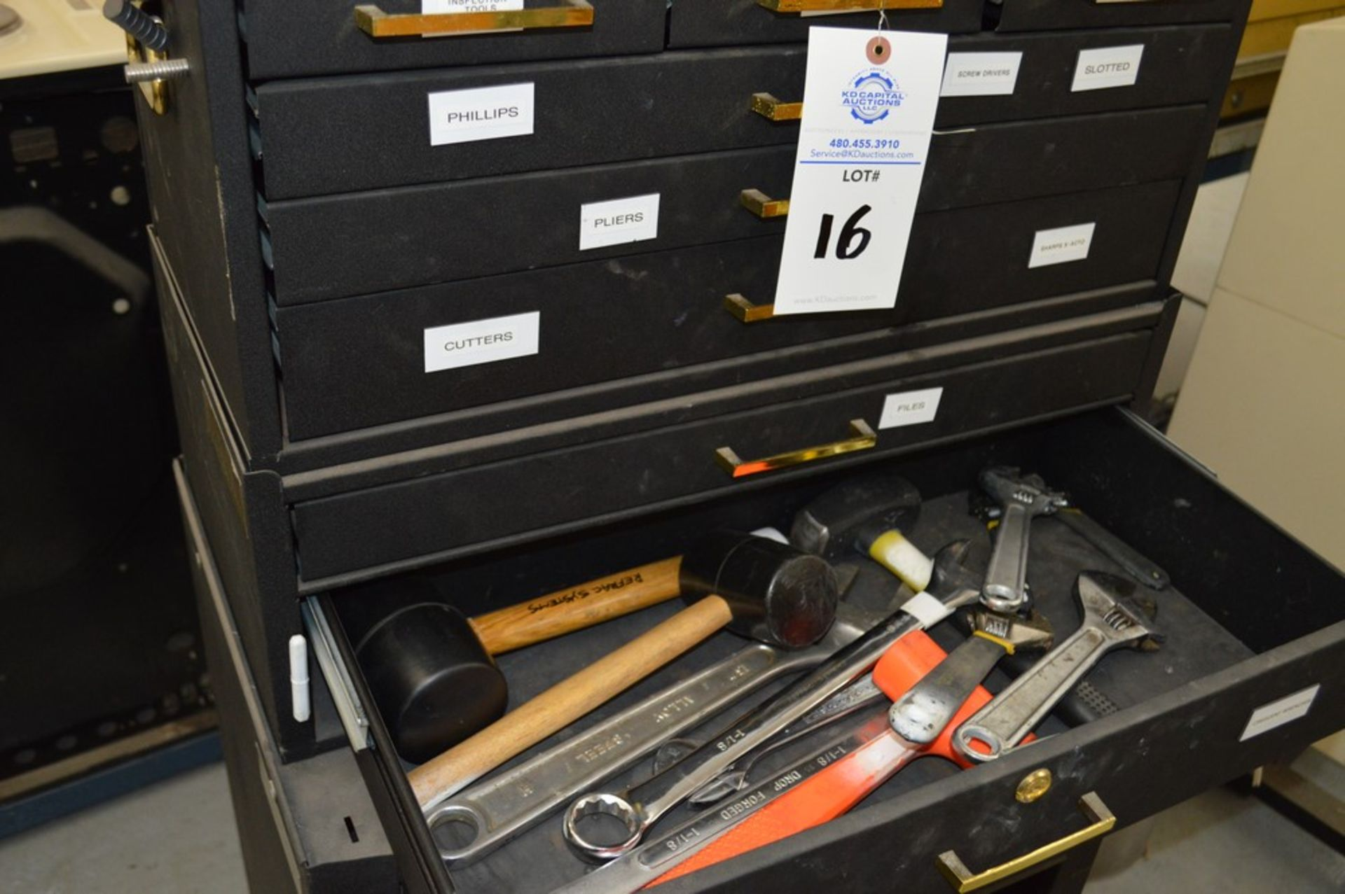 (1) Rolling toolbox with contents, 6 drawer top, 2 drawer middle, roller cabinet chest 3 drawer with - Image 5 of 11