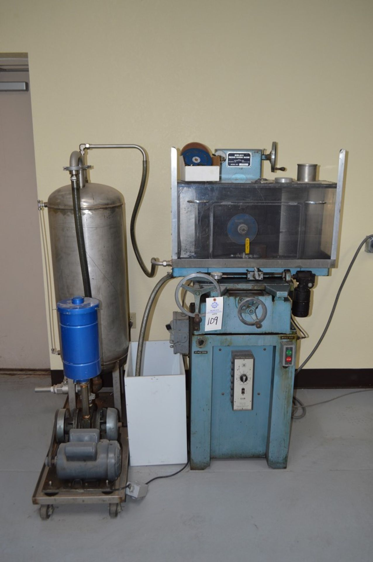 Micromatic Precision Diamond Wafering Saw model WMSA 1743055, spare parts, table and spindle speed