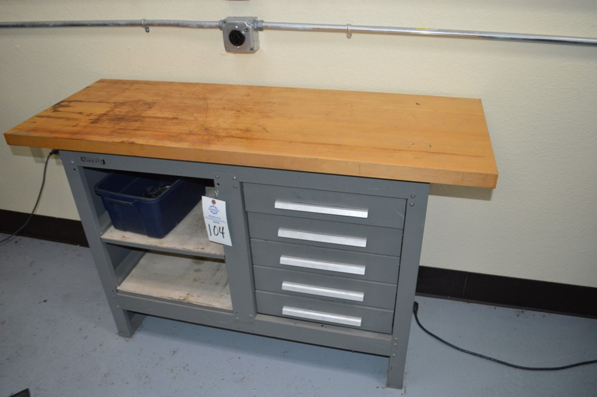 """Kennedy Wood Top, 5 drawer work bench, 54"""" x 20"""" wood top, 34.5"""" tall - Image 2 of 3"""