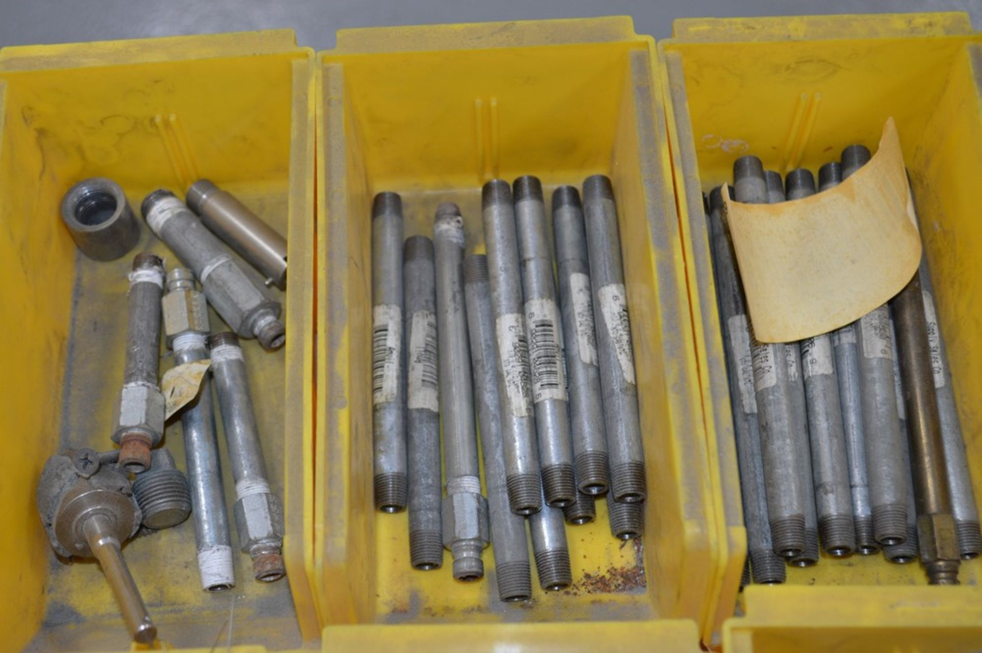 Large assortment of dual threaded joiners, air valves, 12 yellow parts boxes included - Image 2 of 5