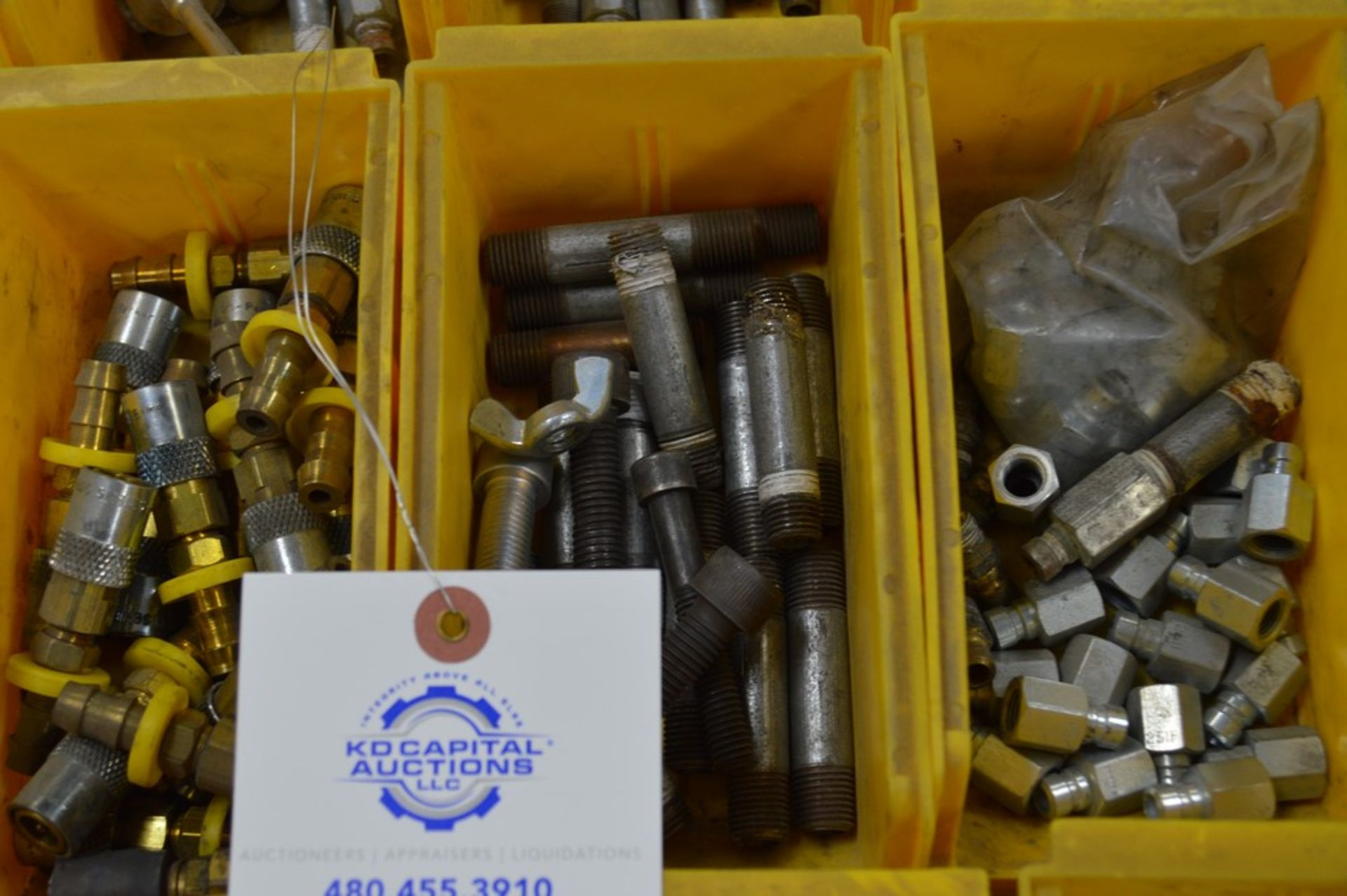 Large assortment of dual threaded joiners, air valves, 12 yellow parts boxes included - Image 3 of 5