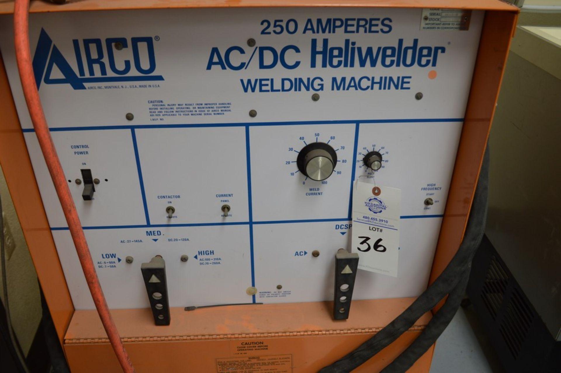 Airco AC/DC Heliwelder, 250 amp welder, AC/DC Tig welder, mounted on rolling steel cart - Image 3 of 5