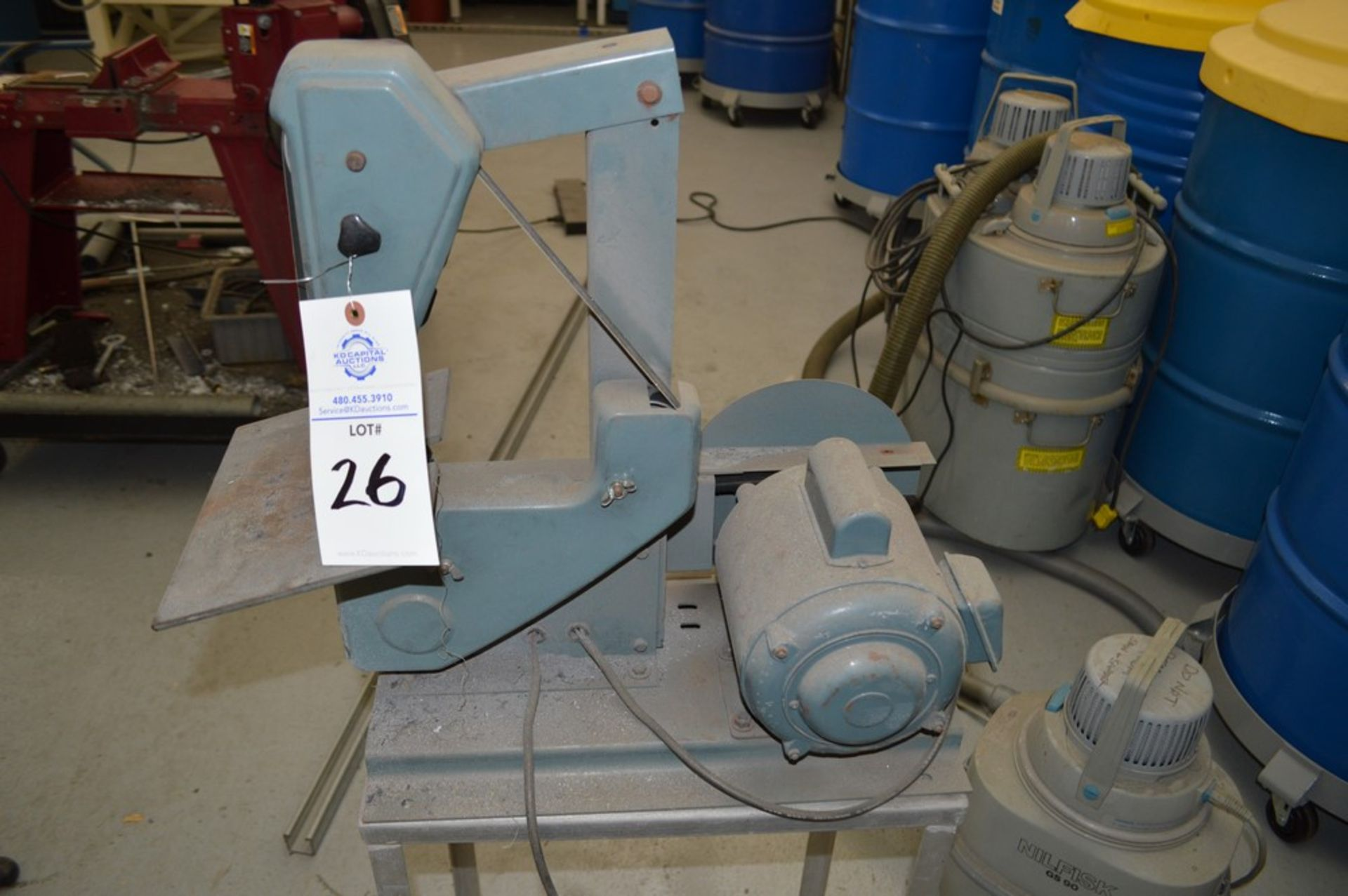 """1"""" x 8"""" Belt and Disc Sander on small metal rolling stand - Image 3 of 5"""
