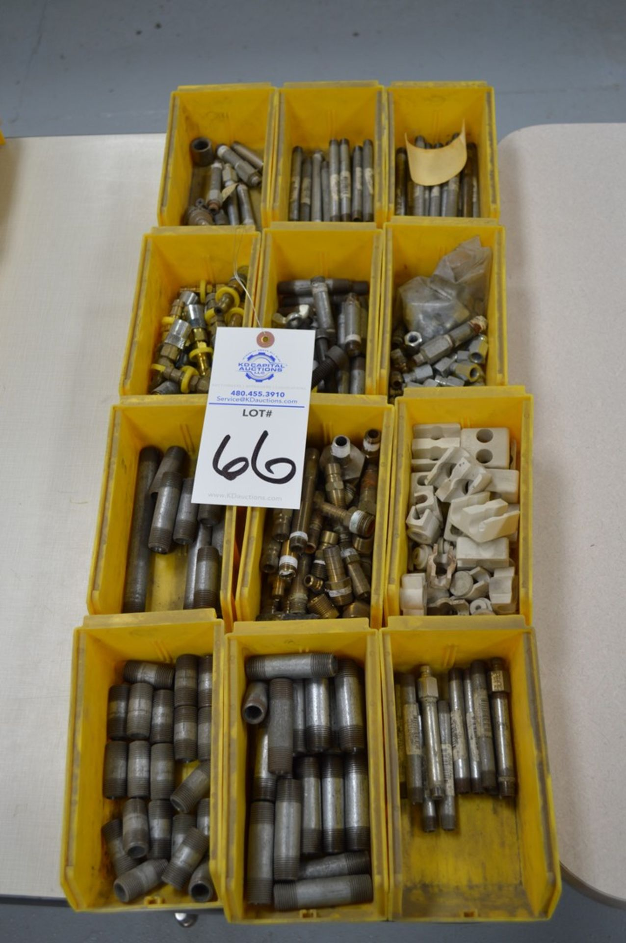 Large assortment of dual threaded joiners, air valves, 12 yellow parts boxes included