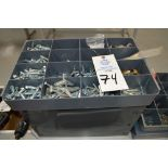 Assortment of fasteners and lockers, T-nuts and more with small gray 24 drawer chest