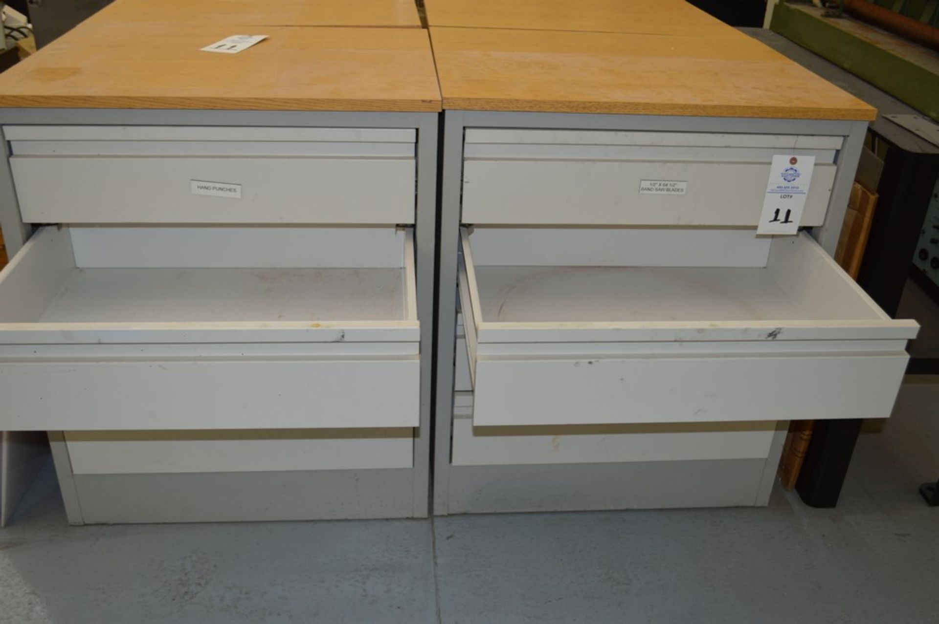 """(3) 4 Drawer Metal Cabinets with wood finished formica tops, 24"""" x 30.5"""", 36.5"""" Tall - Image 2 of 4"""