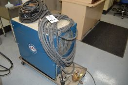 Miller SR-150-32 DC Welder on metal rolling cart, foot pedal and gas lines included