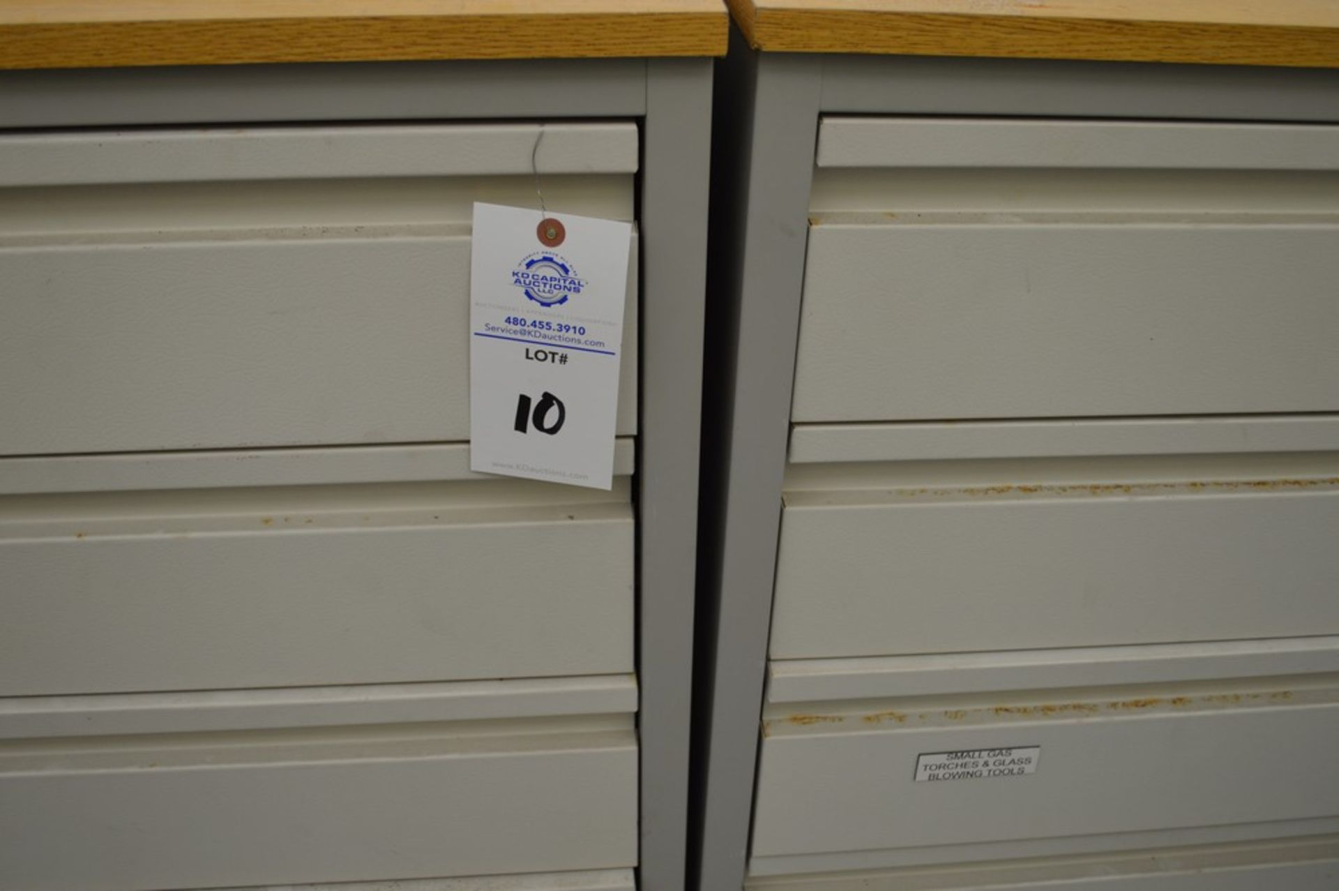 """(3) 4 Drawer Metal Cabinets with wood finished formica tops, 24"""" x 30.5"""", 36.5"""" Tall - Image 4 of 5"""