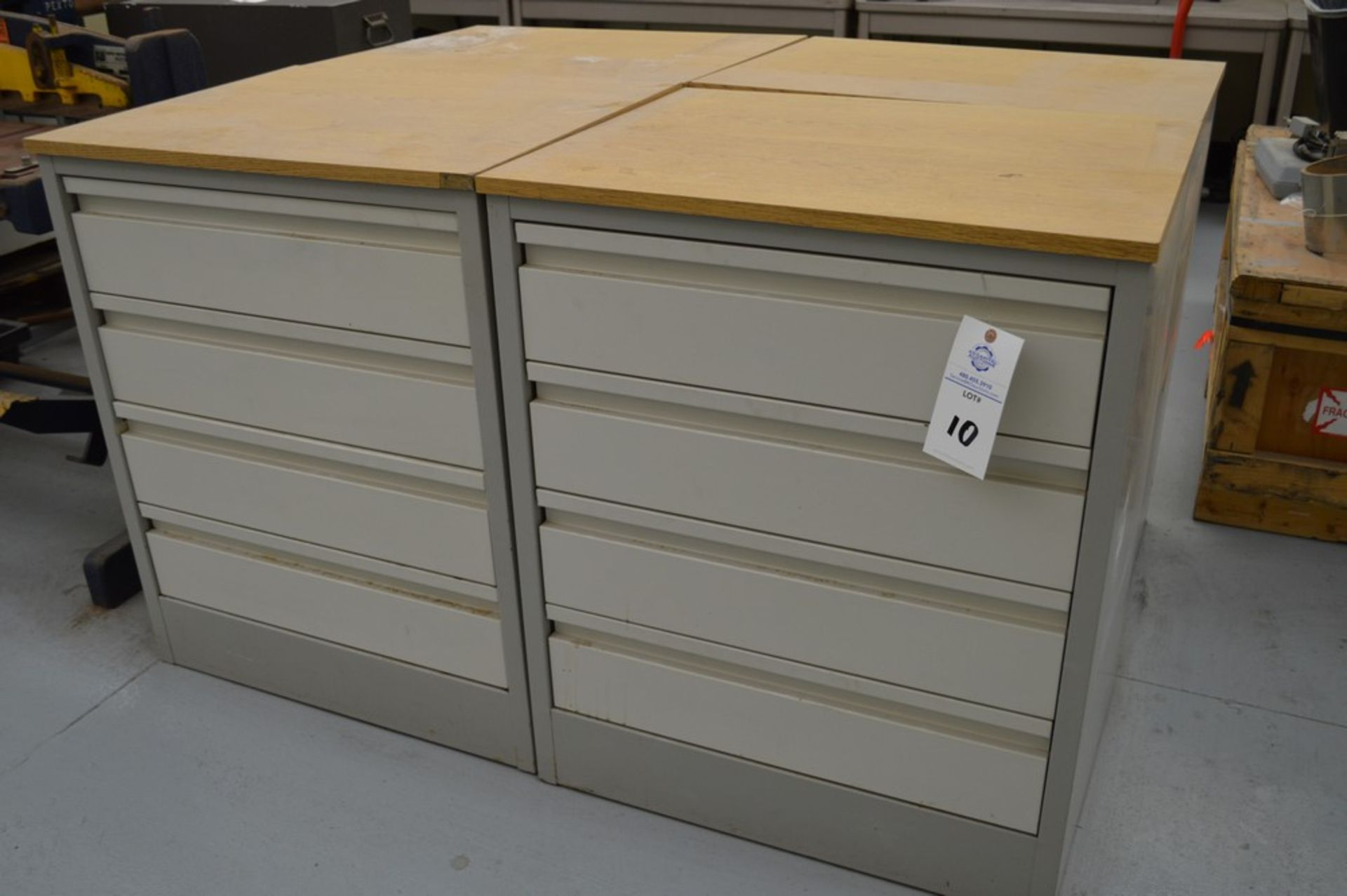 """(3) 4 Drawer Metal Cabinets with wood finished formica tops, 24"""" x 30.5"""", 36.5"""" Tall - Image 5 of 5"""