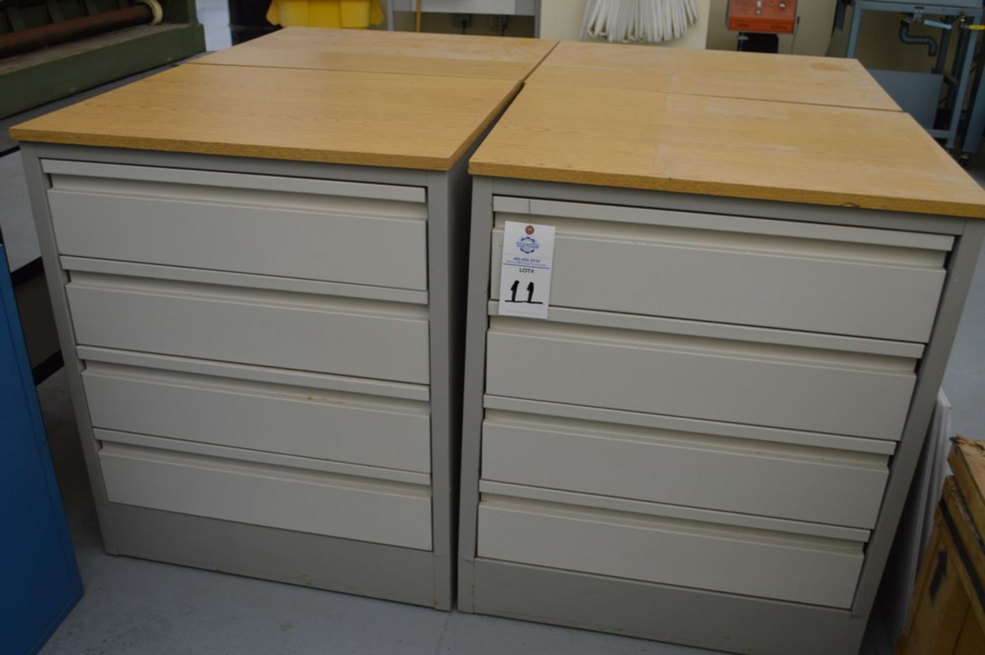 """(3) 4 Drawer Metal Cabinets with wood finished formica tops, 24"""" x 30.5"""", 36.5"""" Tall - Image 3 of 4"""
