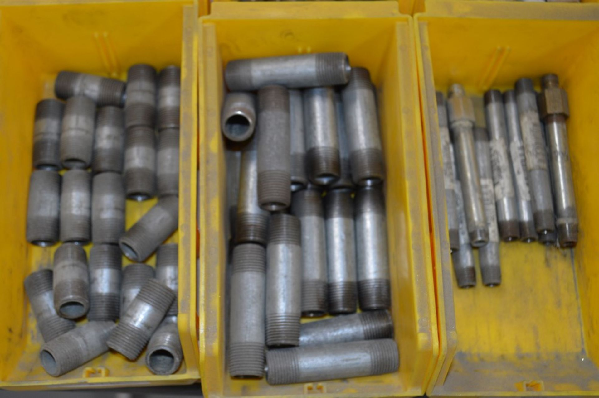 Large assortment of dual threaded joiners, air valves, 12 yellow parts boxes included - Image 5 of 5