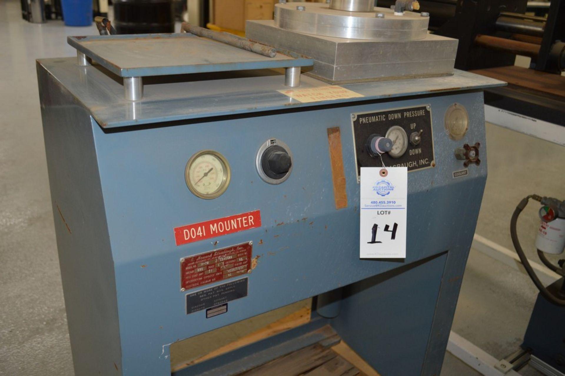 R Howard Strausbaugh, Model M-75, peunmatic press on skid. Mounting press - Image 2 of 6