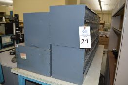8 Metal cabinets with punch tooling and accessories, all contents included