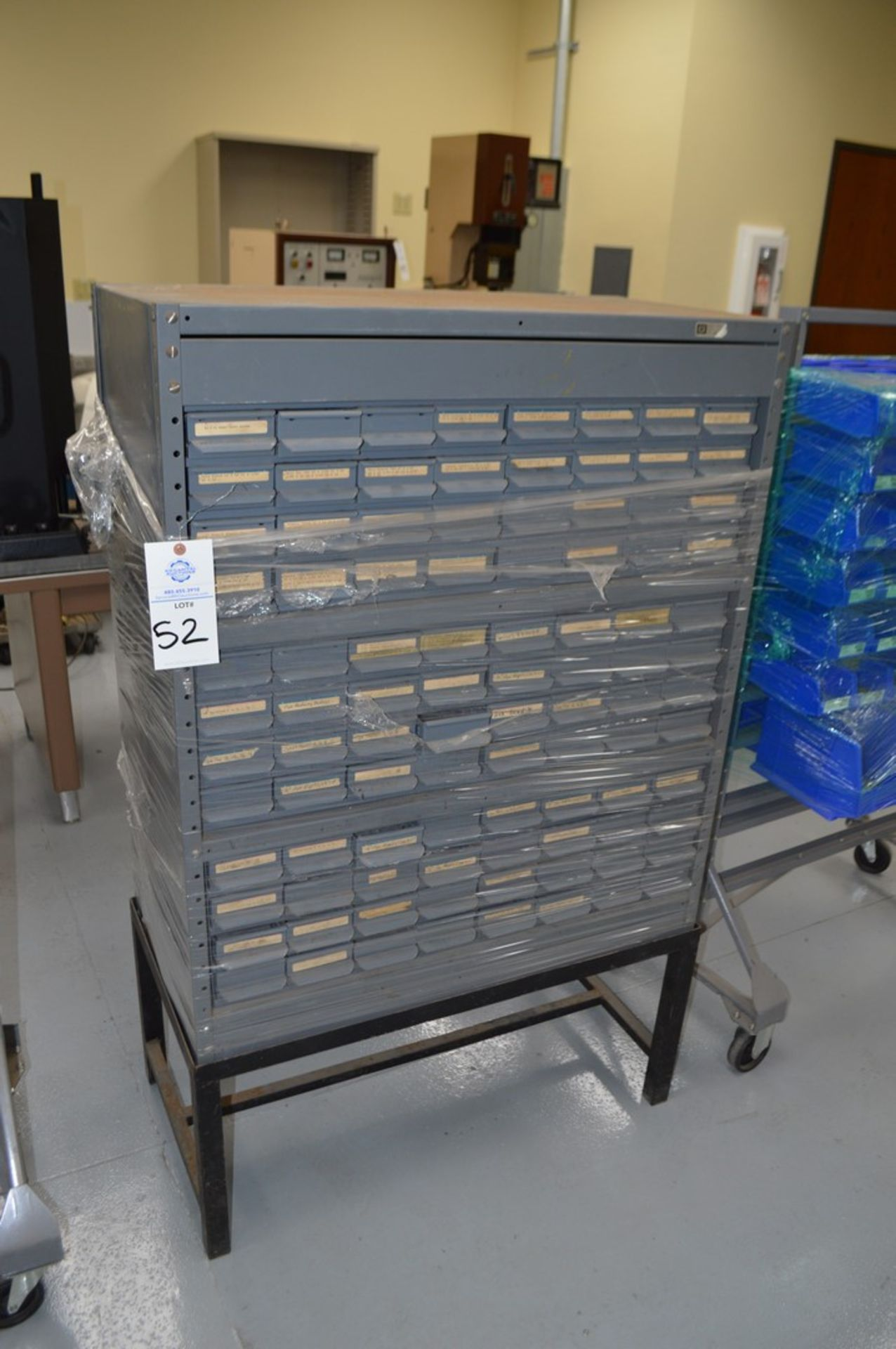 General Instruments gray metal parts organizer with 96 tray drawers on metal stand