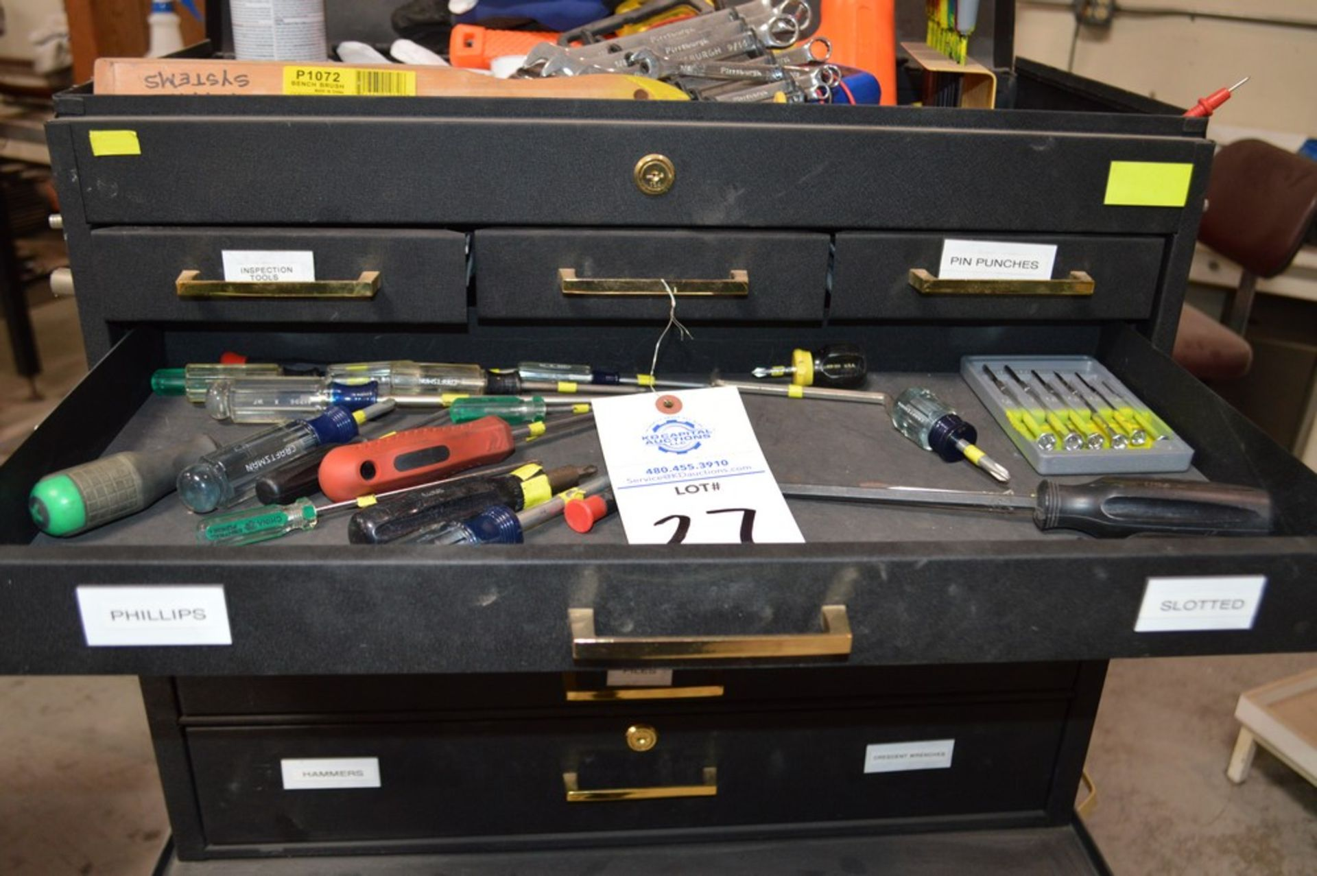 (1) Rolling toolbox with contents, 6 drawer top (2) drawer middle, roller cabinet chest 3 drawer - Image 7 of 11