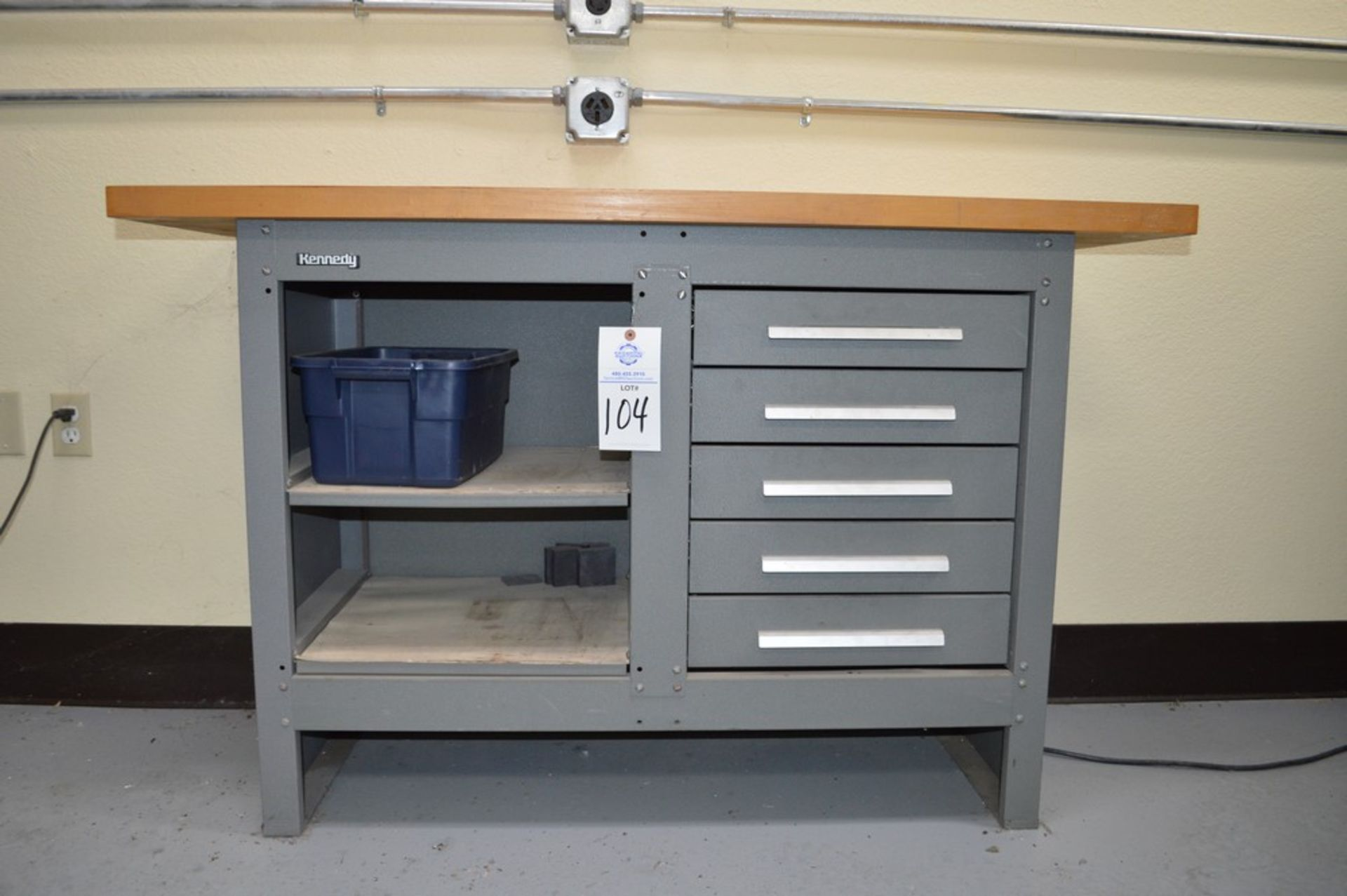 """Kennedy Wood Top, 5 drawer work bench, 54"""" x 20"""" wood top, 34.5"""" tall - Image 3 of 3"""