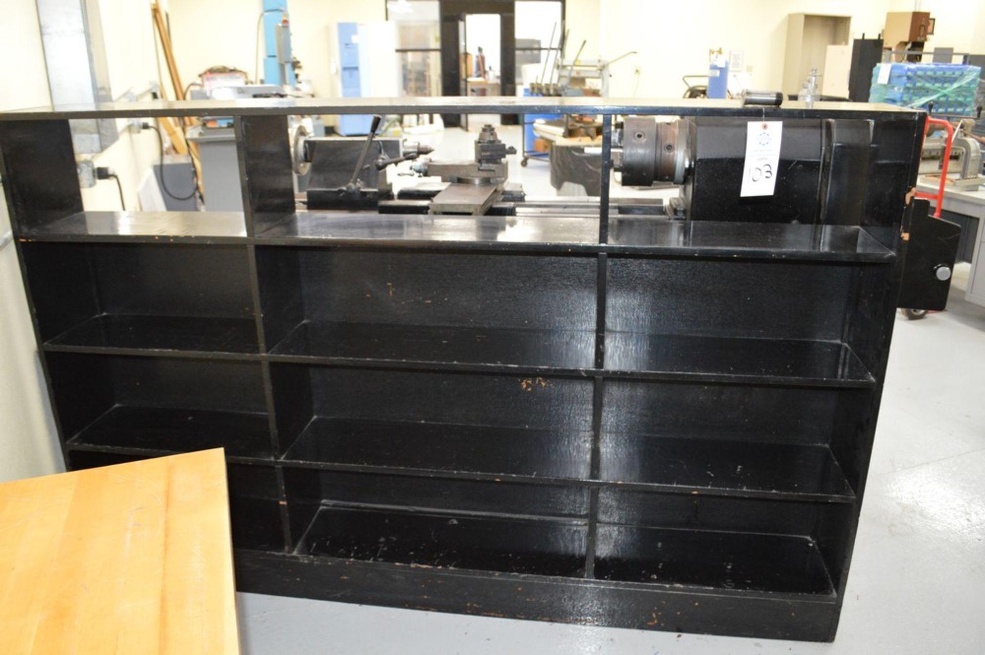 "4 Tier, 3 Column black wood organizer stand, 54"" Tall, 85.5"" Long, 11"" Deep shelves - Image 2 of 2"
