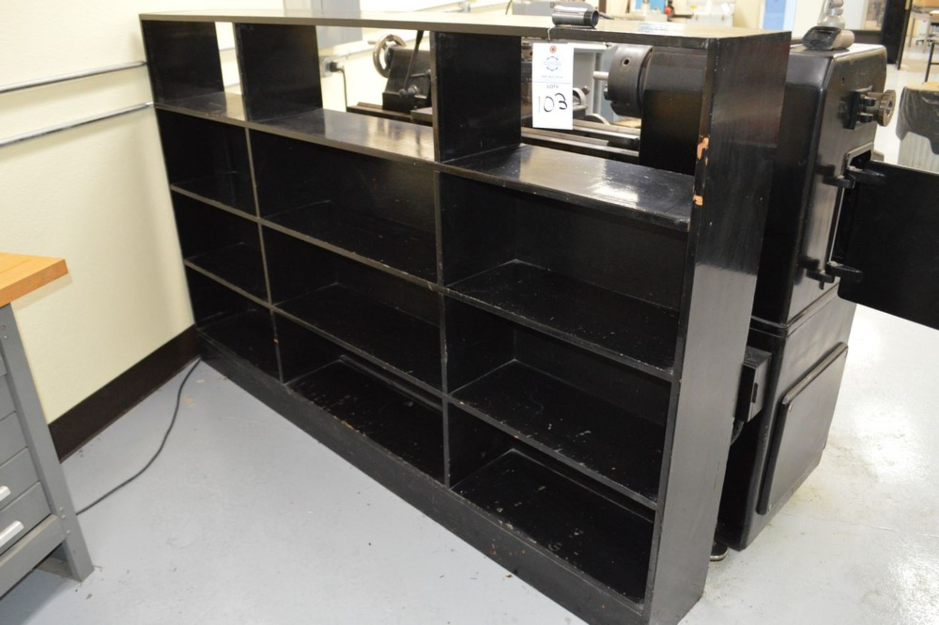 """4 Tier, 3 Column black wood organizer stand, 54"""" Tall, 85.5"""" Long, 11"""" Deep shelves"""