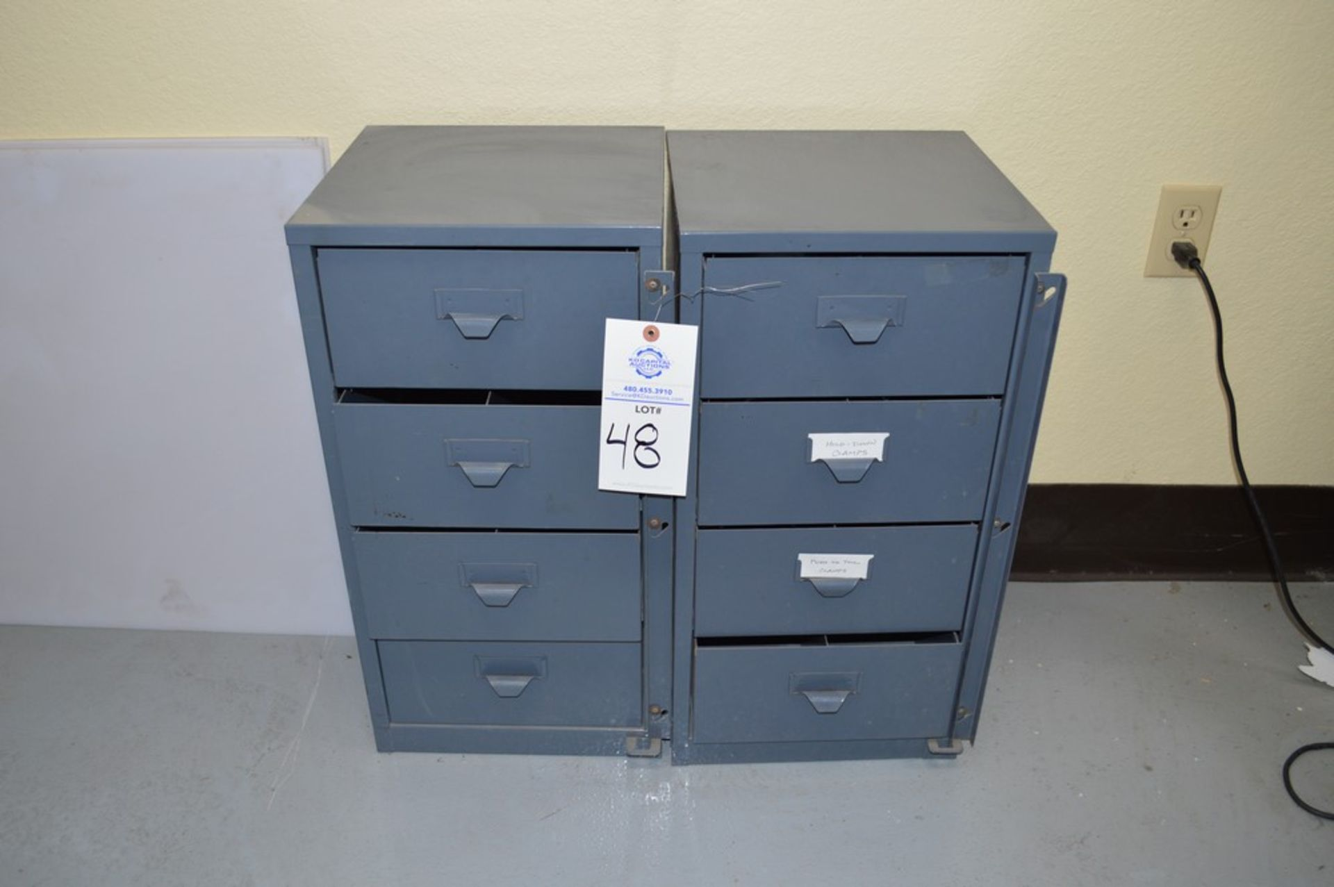 2 small grey 4 drawer cabinets with large assortment of various Di-Stay-Co hold down clamps - Image 2 of 5