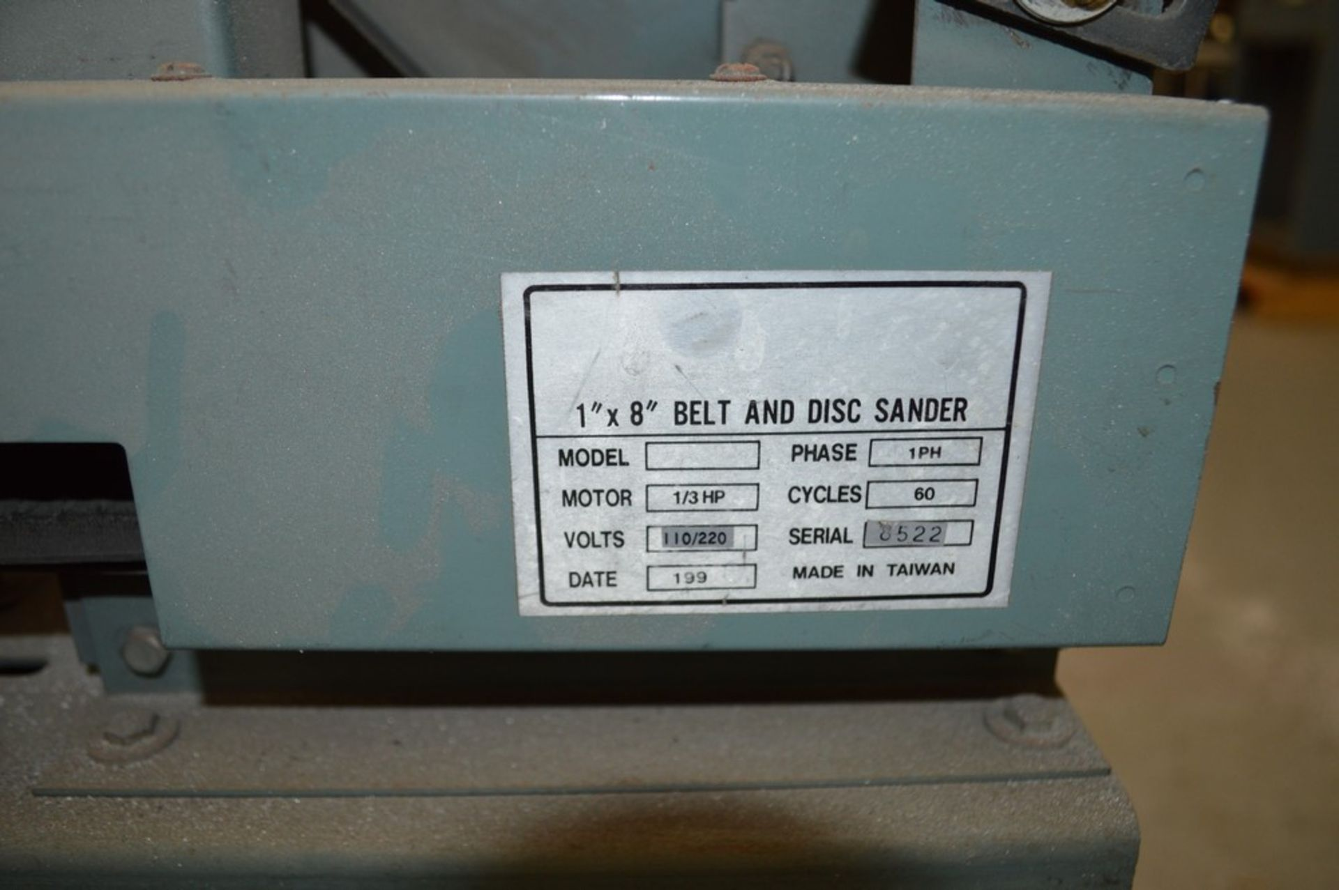 """1"""" x 8"""" Belt and Disc Sander on small metal rolling stand - Image 5 of 5"""