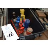 Lot of 6 bottle jacks of various sizes tonnage and makes, including black plastic bin, ranging