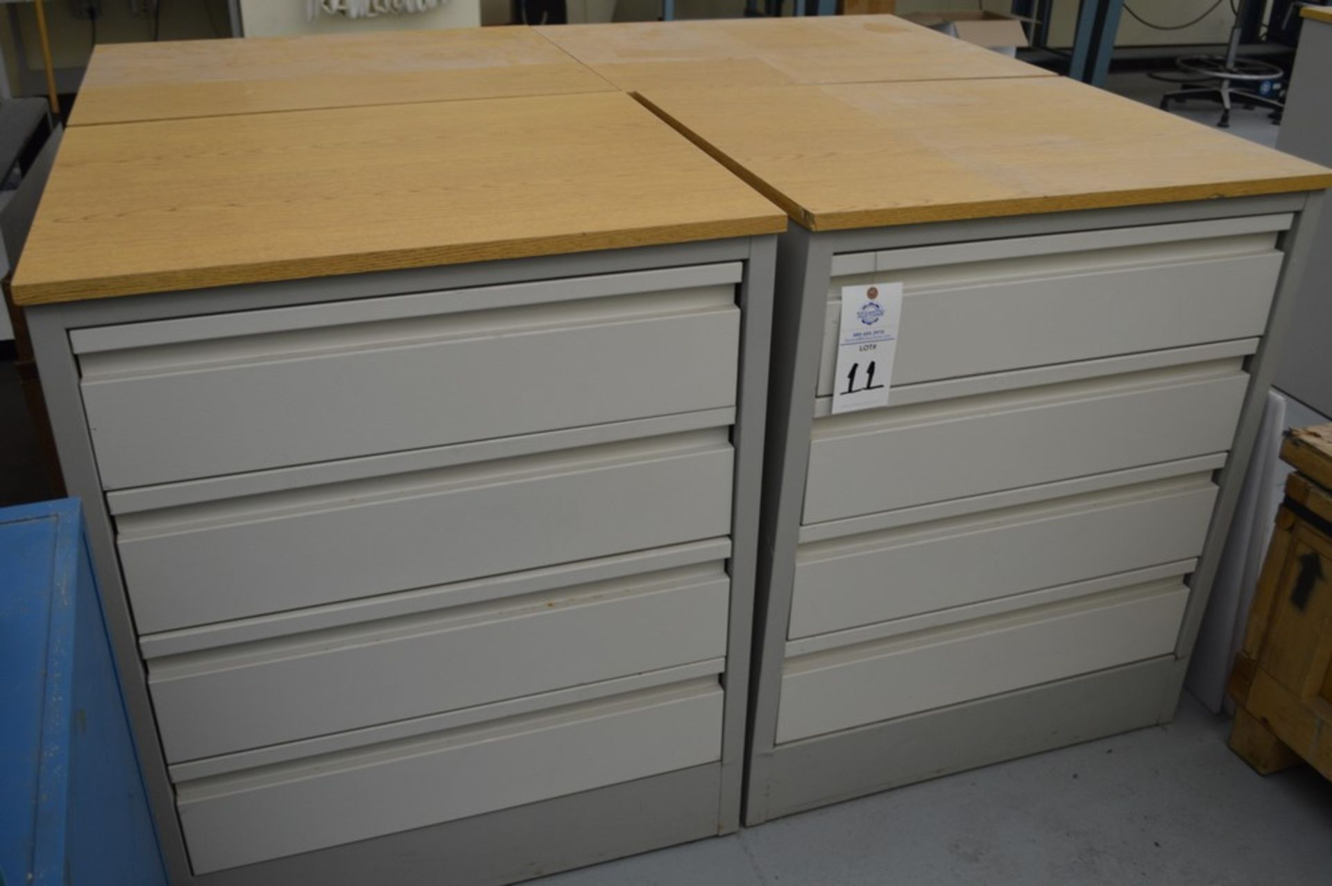 """(3) 4 Drawer Metal Cabinets with wood finished formica tops, 24"""" x 30.5"""", 36.5"""" Tall - Image 4 of 4"""