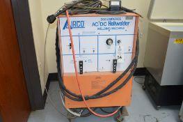 Airco AC/DC Heliwelder, 250 amp welder, AC/DC Tig welder, mounted on rolling steel cart