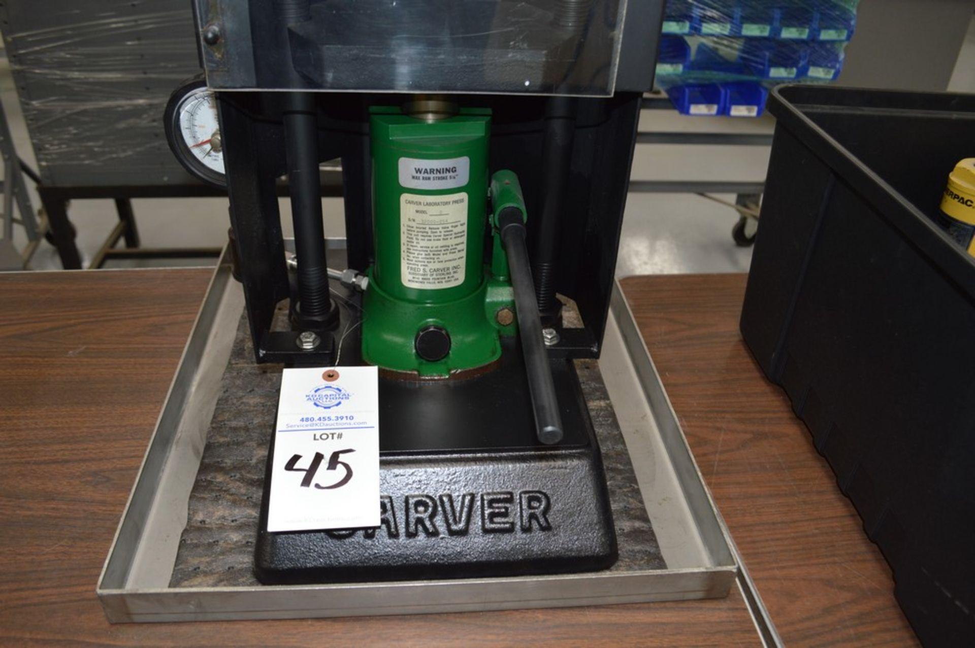 "Carver Model C Laboratory Press, 5 1/8"" max ram stroke, on metal tray - Image 2 of 4"