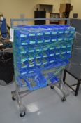 Grey rolling rack with blue bins, giant assortment Stainless Steel Allen Wrench Drive Cap Screws and