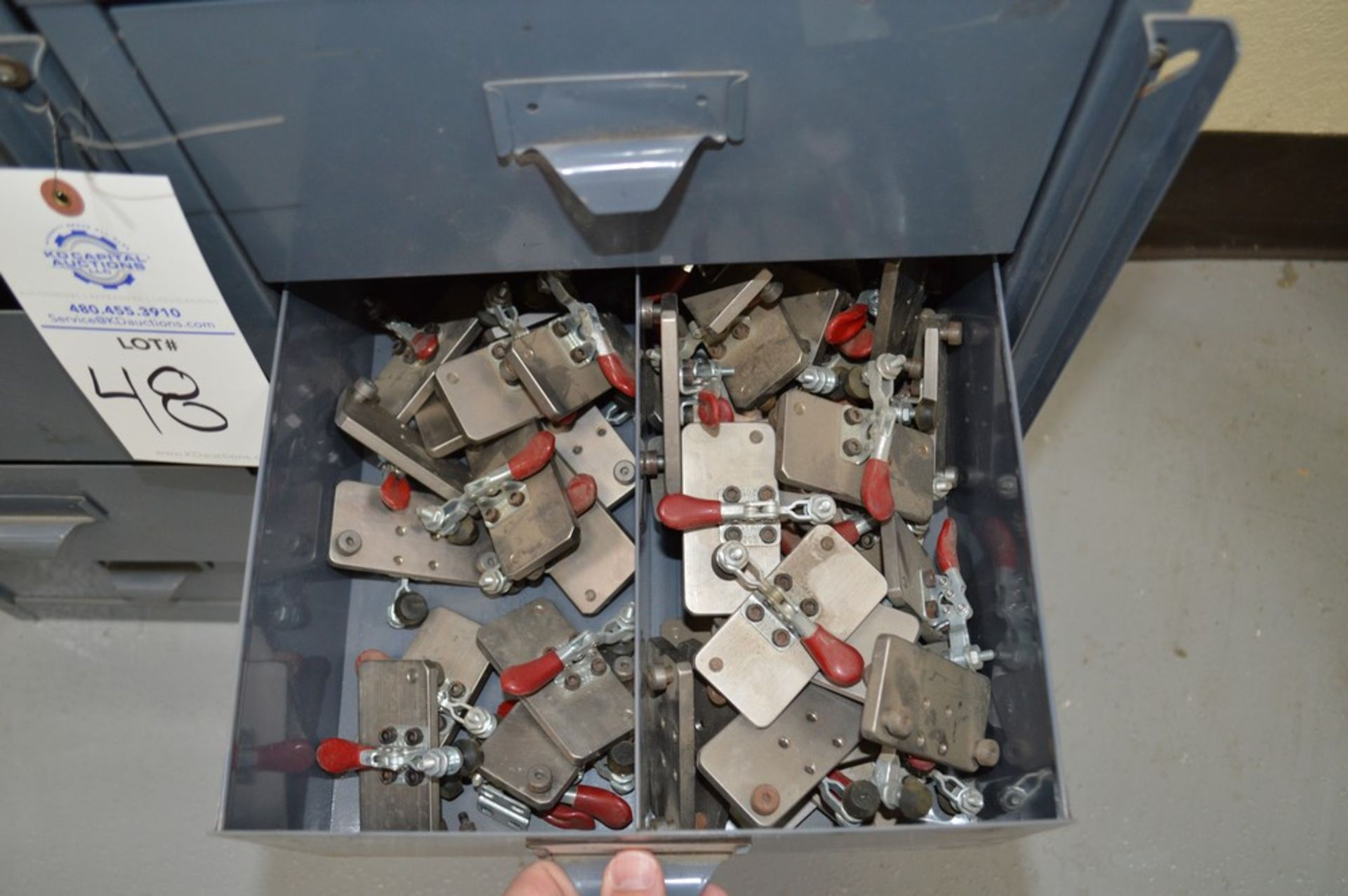 2 small grey 4 drawer cabinets with large assortment of various Di-Stay-Co hold down clamps - Image 4 of 5