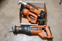 ridgid angle impact drill, ridgid r844 jig saw, ridgid flashlight w/ 2 batteries, no charger