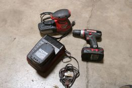 Bauer orbital sander, craftsman cordless 1/2'' drill, w/ extra battery w/ charger