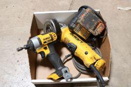 dewalt 4/5'' angle grinder, dewalt 20v impact driver w/ battery and charger, dewalt 20v max drill