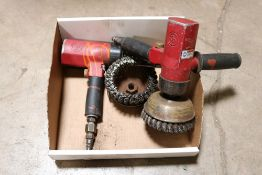 (2) Chicago pneumatic verticle sander w/ tooling