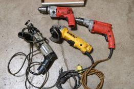 Milwaukee Magnum drill, no cord, milwaukee 1/2'' drill, dewalt 4.5'' angle ginder, electrical porter