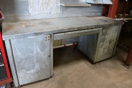 Heavy Duty Metal Work Table, (2) Cabinets 7' x 25'' x 25'', (1) Drawer, Backsplash not included