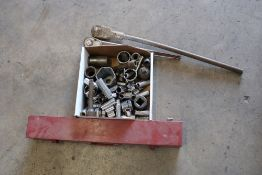 Large Sockets with socket wrenches and various small sockets
