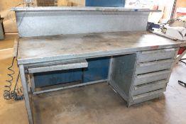 "2 Tier/5 Drawer Heavy Tudy Metal Work Table 73"" x 36"" x 30"""