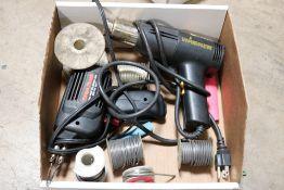 radio shack heat soldering gun w/ solder and wagner heat shrink gun w/ material