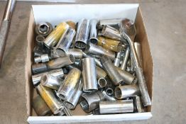 Box of various size sockets and socket wrenches, Large