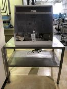 Lot Includes Plastic Acid hood, with many ground glass items as shown, all on a nice heavy duty