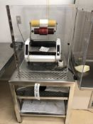 """Riston Style 12"""" Hot Roll laminator with the stainless steel cleanroom shelving unit and dust"""